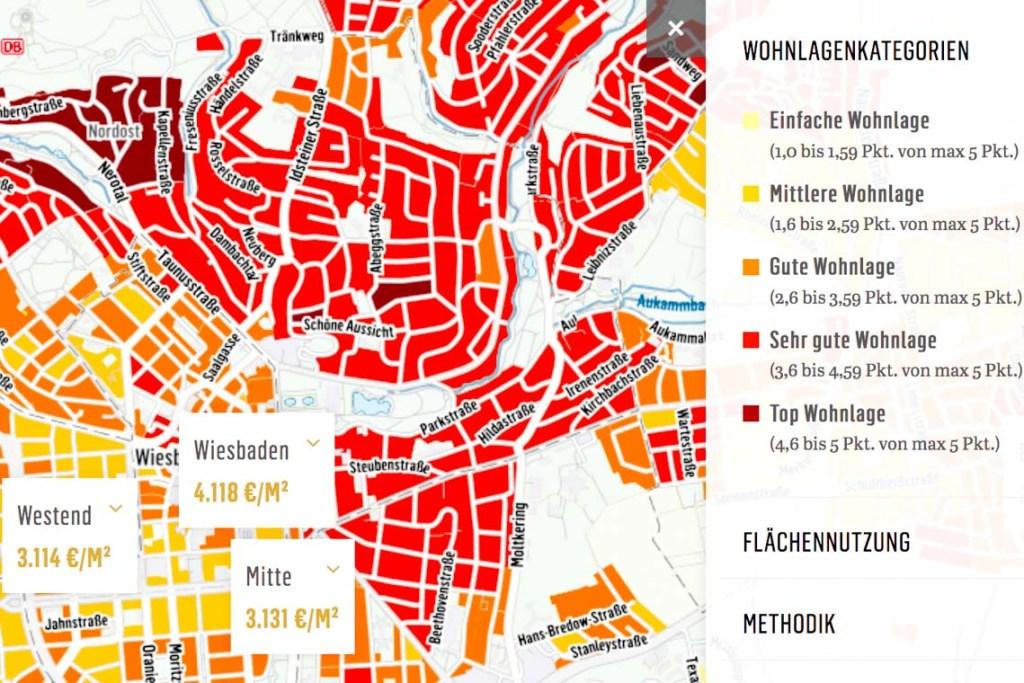 Immobilienpreise in Wiesbaden Anfang 2019. Quelle: iib Dr. Hettenbach Institut auf der Basis von Openstreetmap