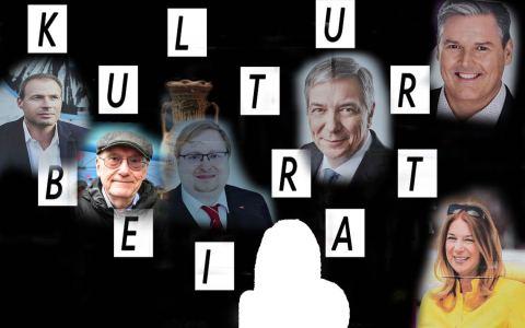 OB-Wahl Kandidaten beim Kulturbeirat. Auf dem Podium sitzen: Gert-Uwe Mende (SPD), Eberhard Seidensticker (CDU), Christiane Hinninger (Bündnis 90/DIE GRÜNEN), Eckhard Müller (AFD), Sebastian Rutten (FDP) und Ingo von Seemen (DIE LINKE). Moderiert wird das Podium von der FAZ-Kulturredakteurin Eva-Maria Magel.