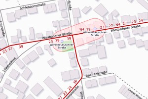 Kreuzungsbereich Wiesbadener Straße/Wilhelm-Leuschner-Straße. ©2019 Openstreetmap