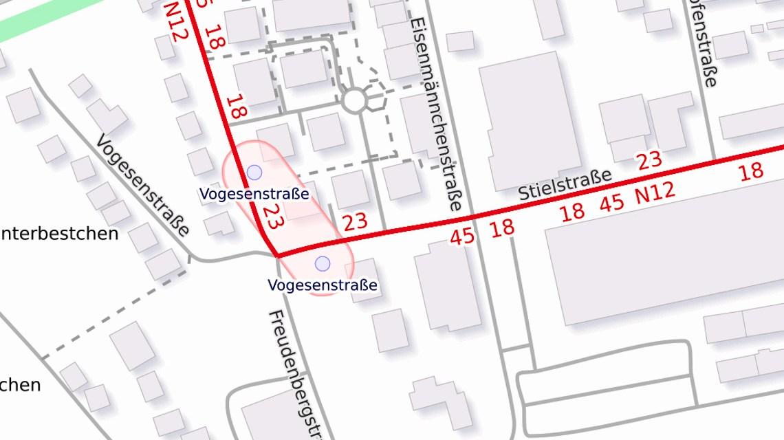 Baumaßnahmen, Stielstraße in Wiesbaden wird saniert. ©2019 Openstreetmap