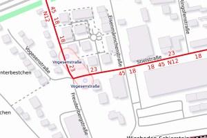 Stielstraße in Wiesbaden wird saniert. ©2019 Openstreetmap