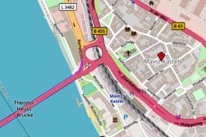 Theodor-Heuss-Brück und Brückenkopf @2019 Openstreetmap