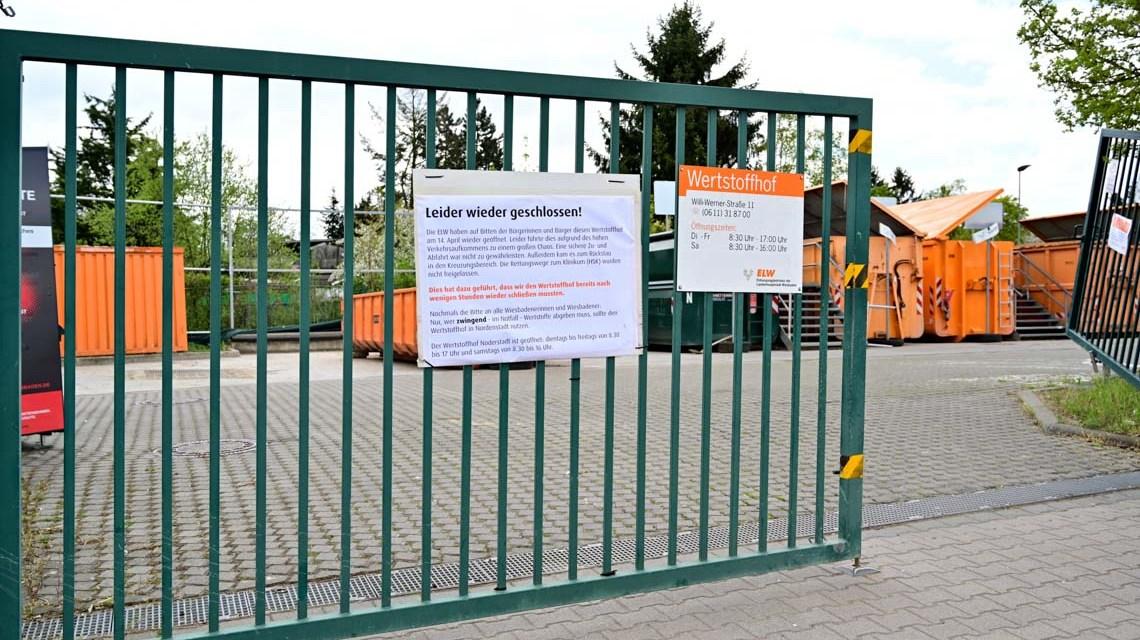 Werstoffhof Dotzheim leider wieder geschlossen.