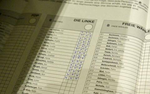 Kommunalwahlen: Strimmzettel der Linken