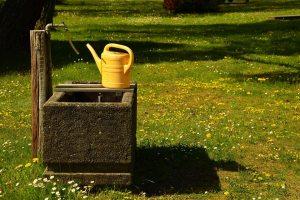Gießkanne auf dem Friedhof am Brunnen
