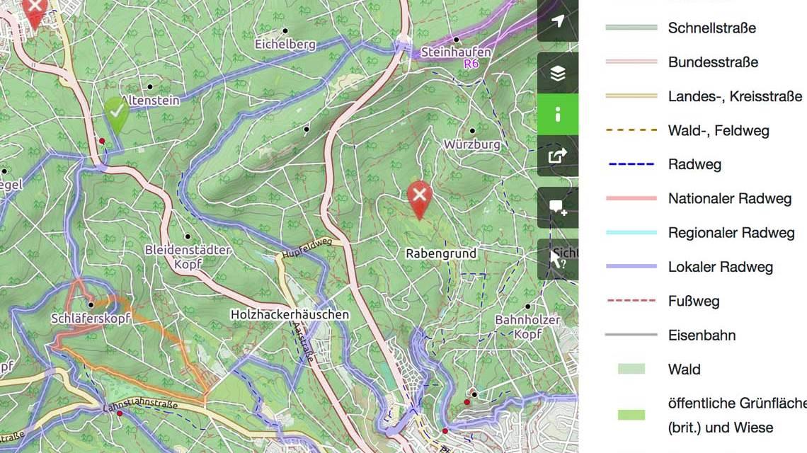 Verkehrsnetz um Wiesbaden. ©2021 Openstreetmap
