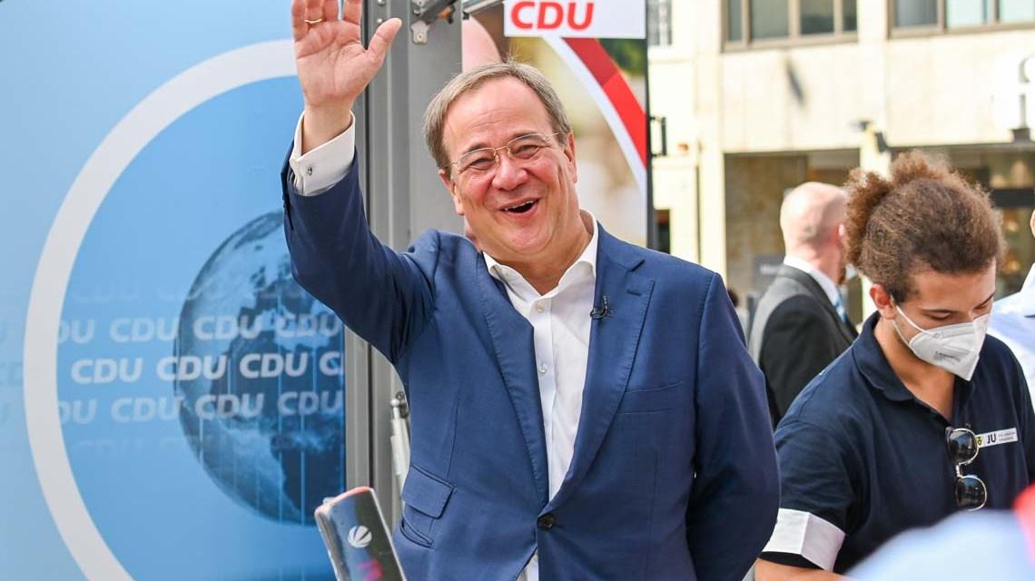 CDU-Chef und Kanzlerkandidat Armin Laschet auf dem Mauritiusplatz
