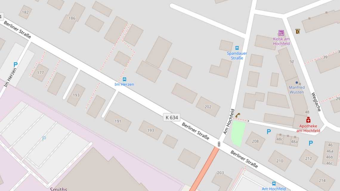 Straßenkarte, Am Hochfeld, Erbenheim