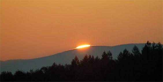Kuppelglühen - Sonnenaufgang bei Schönbach - 28.10.2014