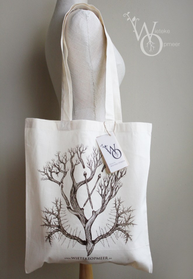 organic totebag screenprinted with illustration origin