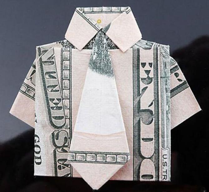 Открытка в форме денег