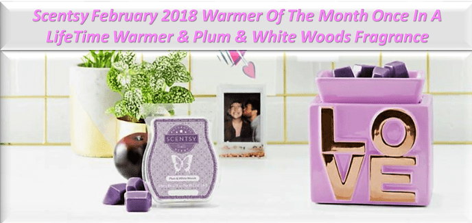 Scentsy February 2018 Warmer Of The Month Once In A LifeTime Warmer & Plum & White Woods Fragrance