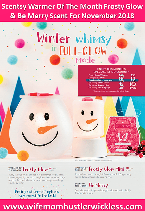 Scentsy Warmer Of The Month Frosty Glow & Be Merry Scent For November 2018