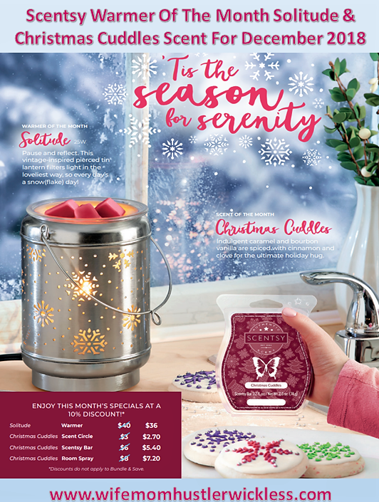 Scentsy Warmer Of The Month Solitude & Christmas Cuddles Scent For December 2018