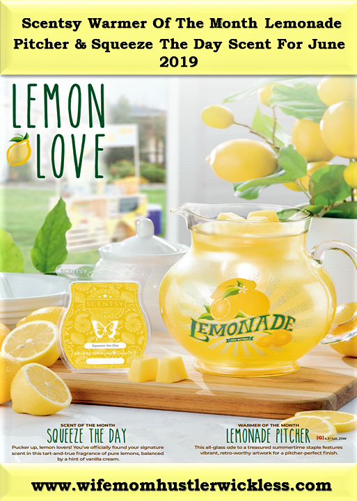 Scentsy Warmer Of The Month Lemonade Pitcher & Squeeze The Day Scent For June 2019
