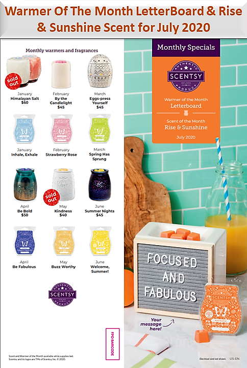 Scentsy Warmer Of The Month LetterBoard & Rise & Sunshine Scent for July 2020