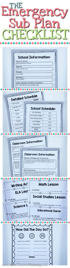 Classroom Design Checklist ~ Things your emergency sub plans must include wife