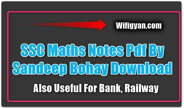 SSC Maths Notes Pdf By Sandeep Bohay Download