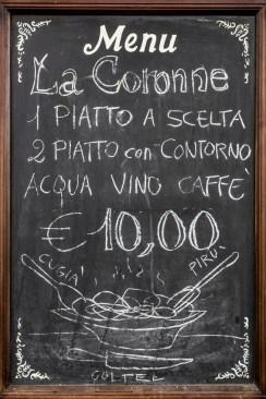 A blackboard used as menu, in an Italian restaurant.