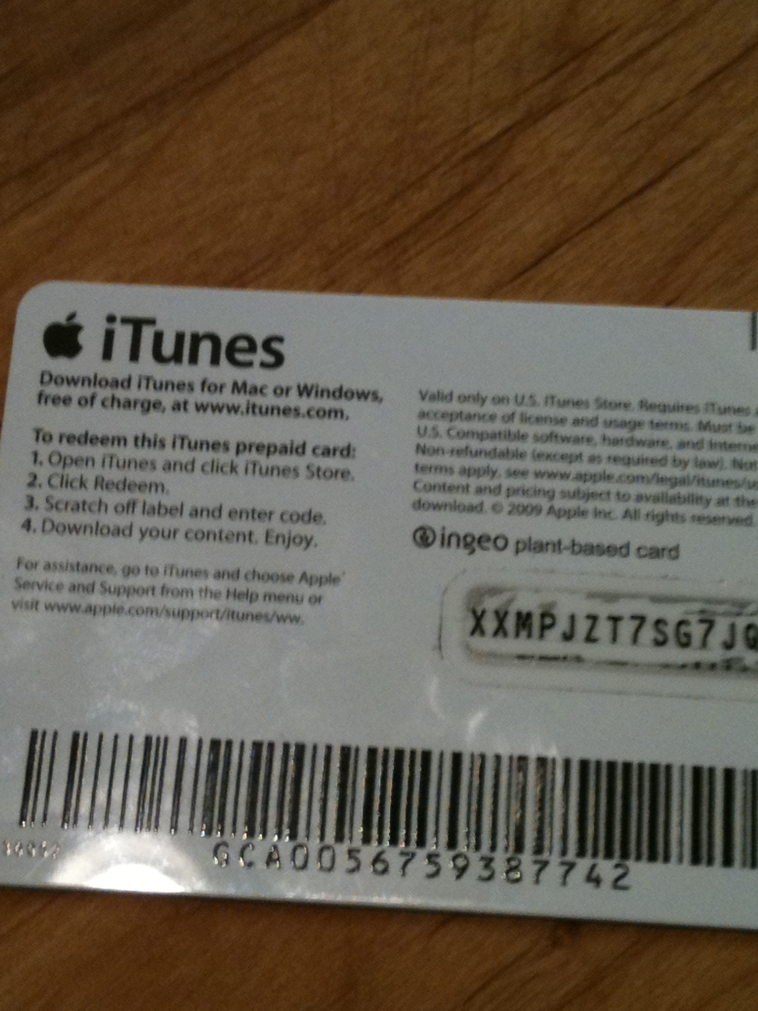 Itunes Card Scratched Back