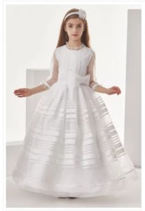 Organza Ball Gown 3/4 Long Sleeves Floor Length Communion Dress With Bow(S)- Buy Now