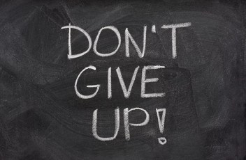 don't give up phrase on blackboard