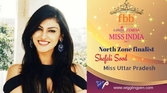 "Shefali Sood Miss Uttar Pradesh North Zone Finalist for""Miss India 2017″"