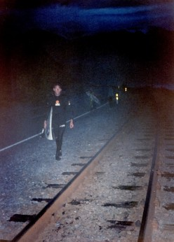 Richard Harvey walking back along the railway line at Mangamanu