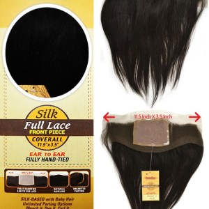 """BRAZILIAN 100% VIRGIN REMI SILK FULL LACE FRONT PIECE COVERALL 11.5"""" X 3.5"""" EAR, FULLY HAND. TIED NATURAL HAIRLINE UNLIMITED PARTING"""
