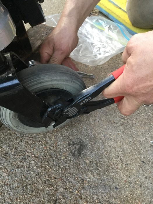 Wiha Pliers Wrench, to change out front caster wheels on Koko wheelchair.