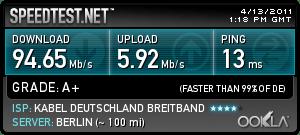 Speedtest mit 100 Mbit