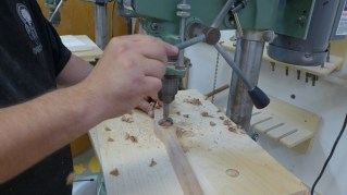 Drilling the finger hole (Photo credit: Colin Connors)