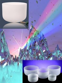 """Kristallen klankschalen Chakra SET 1: 7 schalen """"432 Hz"""" - 25-30 - Kristal - Wit - S"""
