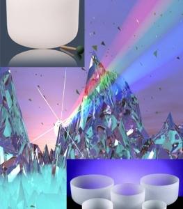 Kristallen klankschalen Chakra SET 2: 7 schalen - 25-35 - Kristal - Wit - S