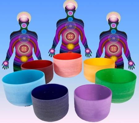 Kristallen klankschalen Chakrakleuren SET + tassen - 20 - Kristal - S