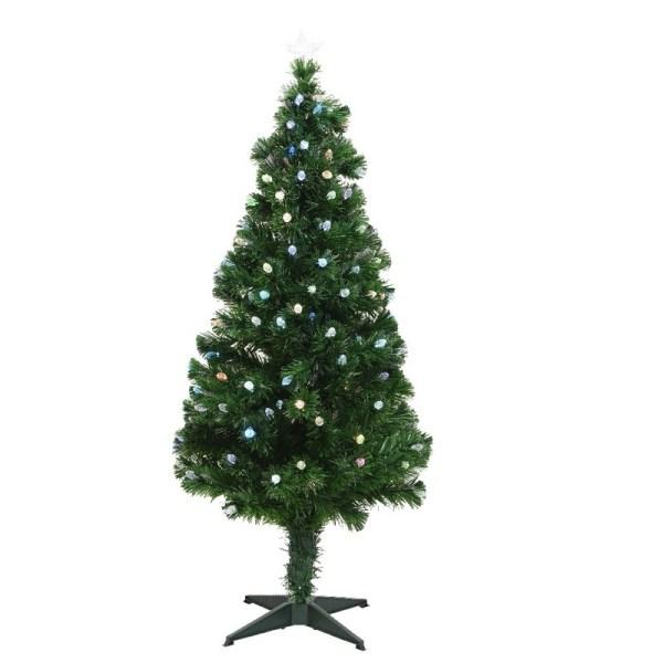 Glasvezel kunstkerstboom met 129 gekleurde LED lampjes 120 cm
