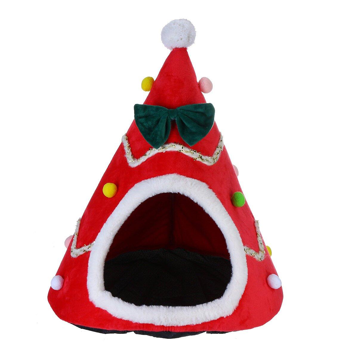 Kat Hond Kerstboom Vorm Fluweel Warm Huis Grot Bedden Indoor Katten Gezellige Wol Igloo Huisdier Huis