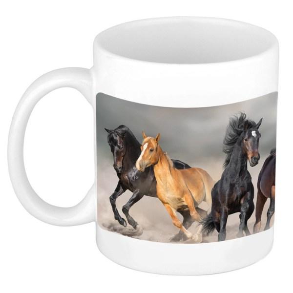 Dravende zwarte / witte paarden mok / beker wit 300 ml