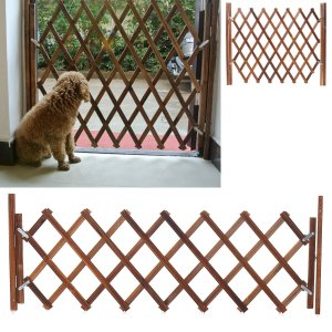 Folding Wood Baby Gate Fence Safety Protection Pet Dog Barrier Standing Door - M