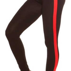 Trendy leggings with contrast stripes Red