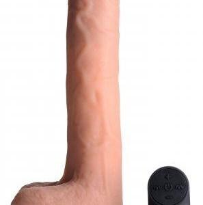 Big Shot Vibrerende & Stotende XL Dildo met Zuignap en Ballen - Beige