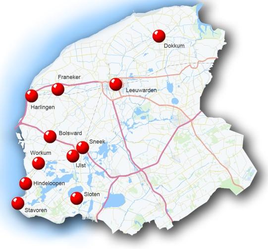 Kaart Friese elf steden