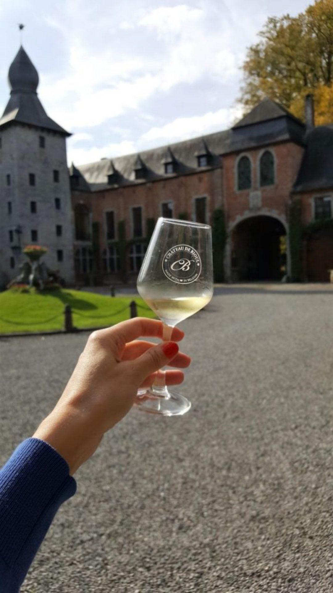 Belgische wijn: chateau de bioul wijnglas