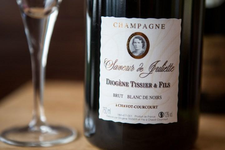 Blanc de noirs champagne van Diogène Tissier