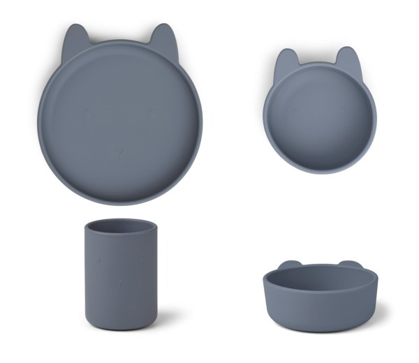 Liewood CYRUS-SILICONE-SET-RABBIT-BLUE-WAVE