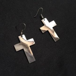 Luxusné dlhé visiace náušnice Kríž. Farba- strieborná. Rozmer: 5,5cm.