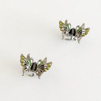 Krásny luxusný štipec do vlasov v tvare motýľa s krištáľmi. Farba- zelená. Rozmer: 3cm