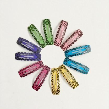 Krásne sponky pukačky do vlasov kovové s kruhmi pre ženy a detíčky, 12ks. Farba- mix. Rozmer: 4cm.
