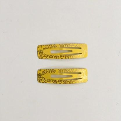 Krásne sponky pukačky do vlasov kovové s hviezdičkami pre ženy a detíčky, 2ks. Farba- žltá. Rozmer: 5cm.