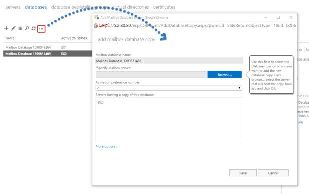 Exchange Add Database Copy